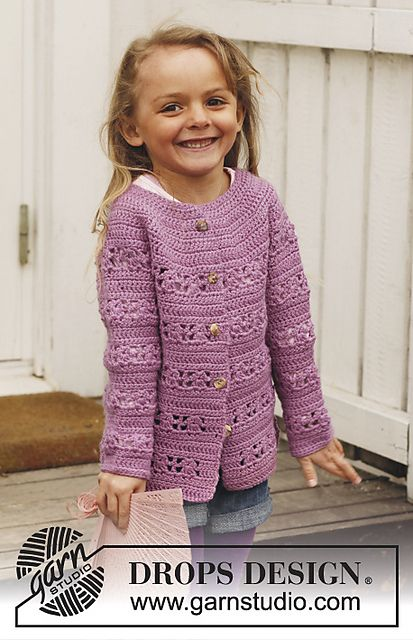 Ravelry: s24-38 Jacket with lace pattern and round yoke in Karisma. Jacket is worked top down pattern by DROPS design