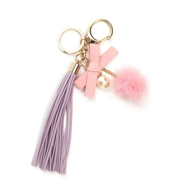 Cute As Can Be Keychain LAVENDER ($16) ❤ liked on Polyvore featuring accessories, purple, pom pom key chain, fob key chain and long key chain
