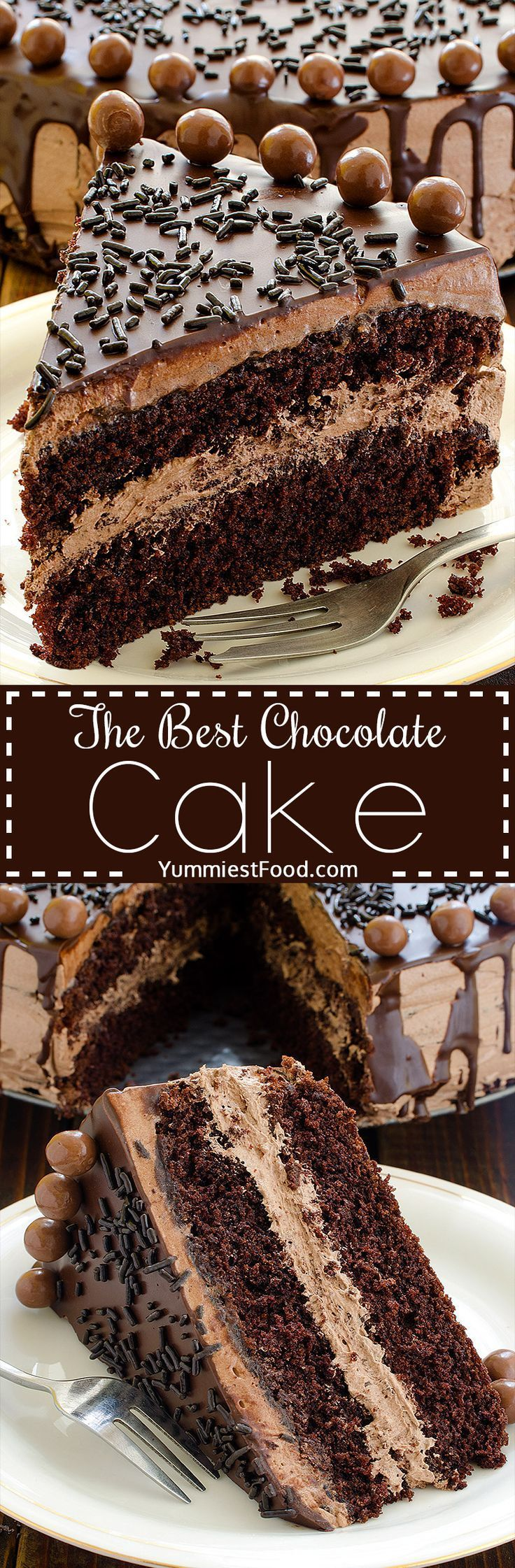 The BEST Chocolate Cake - perfect cake for chocolate lovers! Soft, tasty and very creamy!