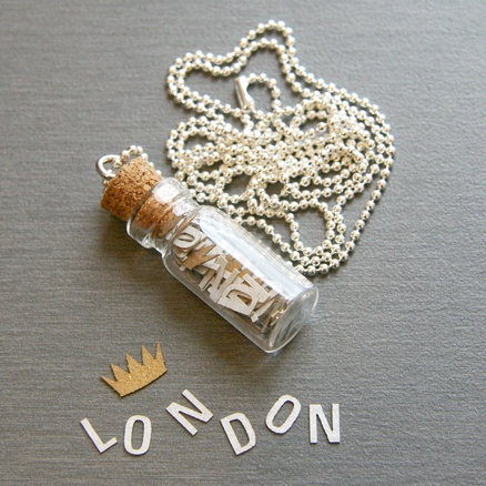 Love the idea of this tiny message in a bottle necklace. Too expensive to use as a giveaway (but maybe I could adapt it). But I want one for me! How fun to wear A LEAF CAN BE... (and they even have a leaf icon you can add) or a BOOKSPEAK necklace!