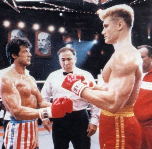 "Remember this? ""I must break you"" says Dolph Lundgren to Stallone in Rocky IV (1985)."