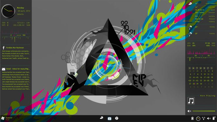 just made new wallpaper that look cool even by just using enigma and arc clockrainmeters:enigma by: Kaelriarc clock by: Burnwell88