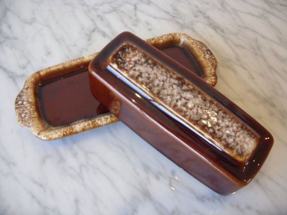 Best Hull Oven Proof U S A Brown Drip Pottery Butter Dish With 400 x 300
