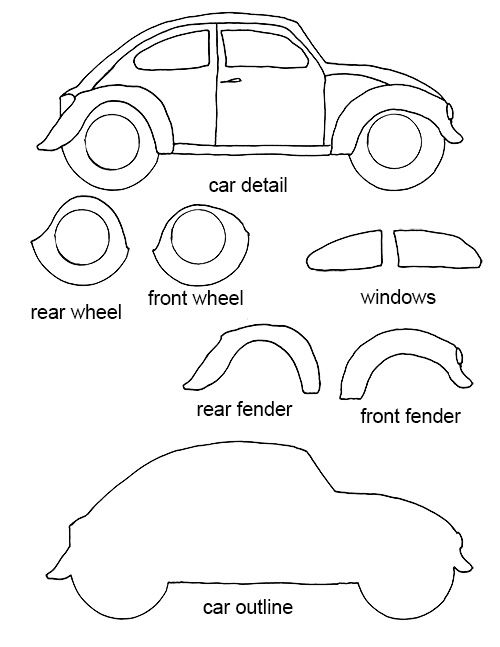 felt crafts free patterns | Free VW Bug craft template | Crafting Goodness