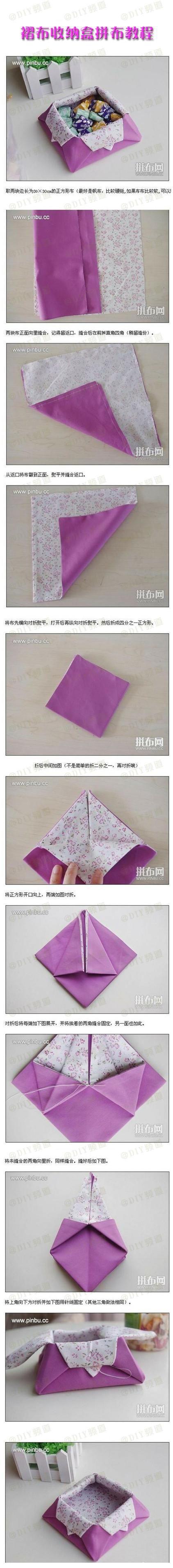 Caixa de armazenamento de tecido plissado