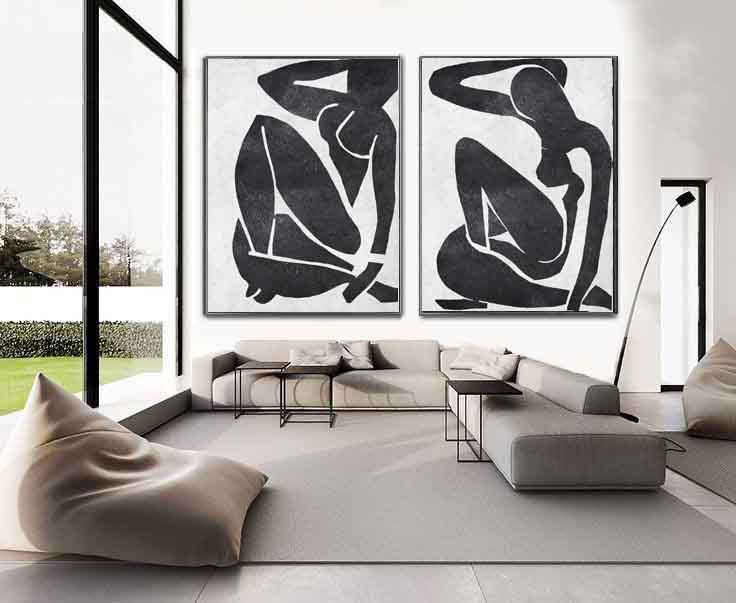 Set Of 2 Extra Large Contemporary Art Acrylic Modern Wall On Canvas Minimalist