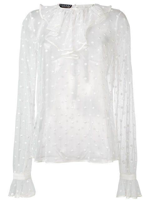 Купить Rochas блузка в горох с оборками.