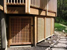 Hiding the blah concrete under the deck.  Add access panels for under deck storage.
