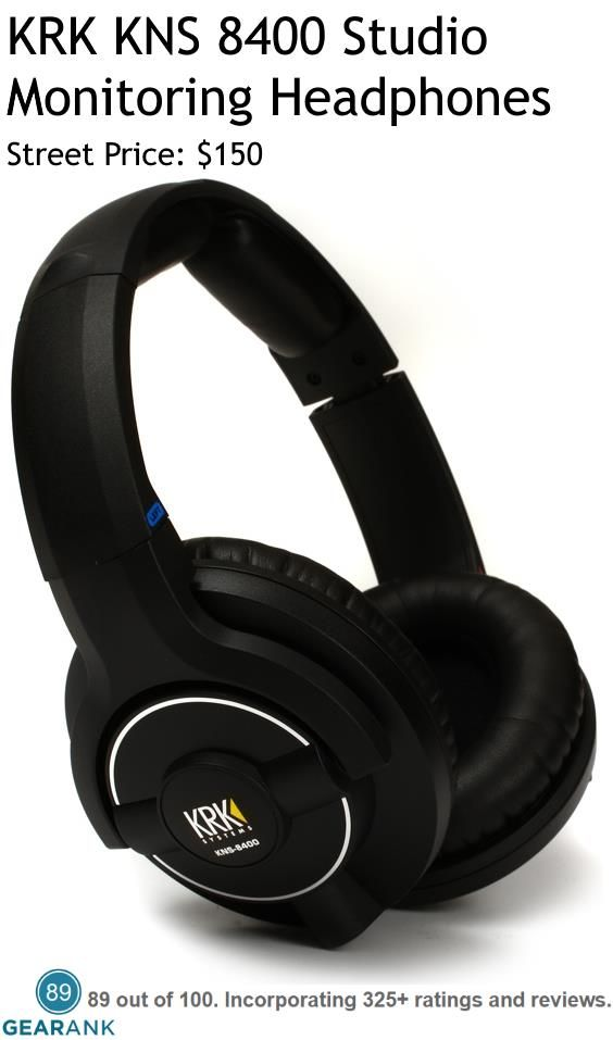 KRK KNS 8400 Studio Monitoring Headphones - Closed-Back.  The latest reference quality frequency response for closed-back, circumaural dynamic headphones.  Exceedingly accurate, natural and wide frequency response.  For a Detailed Guide to The Best Closed-Back Headphones for Recording see https://www.gearank.com/guides/closed-back-headphones