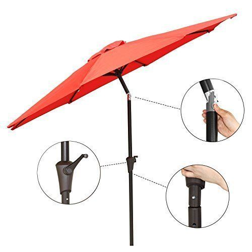 Patio Umbrella Tilt Aluminum 9Ft Outdoor Umbrella With Crank Polyester Red New #PatioUmbrellaTiltAluminum9Ft #MarketUmbrella