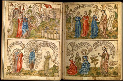 Fig. 1. Canticum canticorum, blockbook, ca.1465, fol. 1v.-2r.