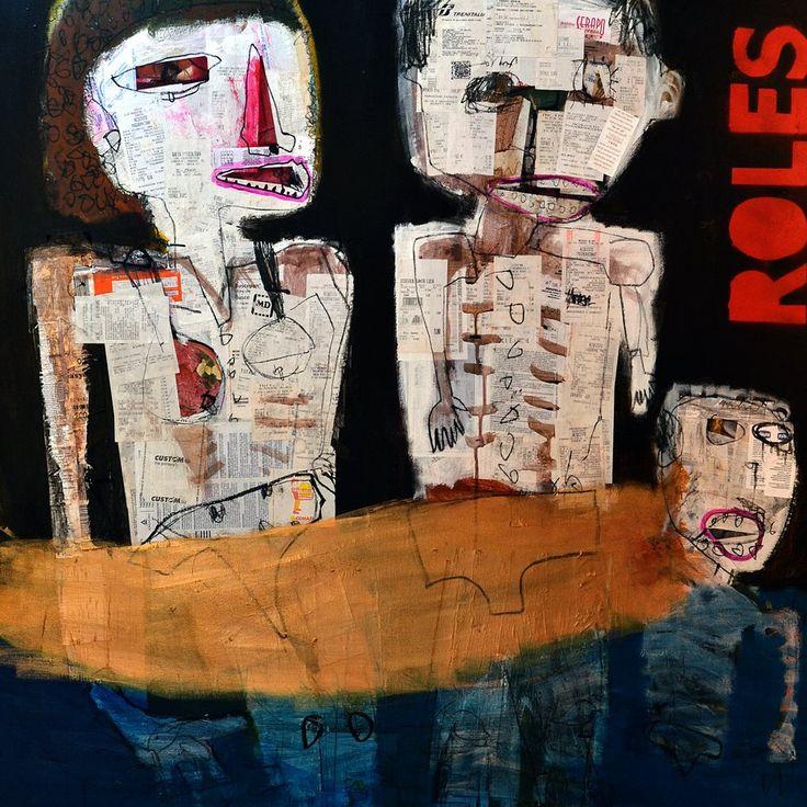 """al proprio posto"" mixed media on canvas 100x100cm 2013"
