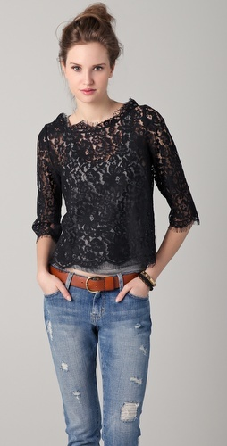 Black lace and blue jeans ...perfect