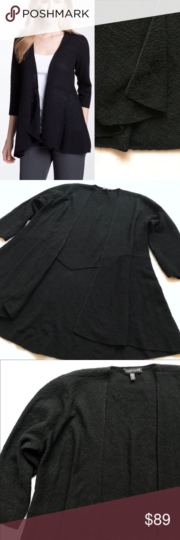 LIKE NEW Eileen Fisher Fine Wool Open Cardigan XS LIKE NEW Eileen Fisher Open Front Fine Wool Cardigan. Size XS. Color: Black. Slightly sheer, textured knit of fine wool yarns defines versatile cardigan shaped for feminine fit. Seamed Waist. Light, flattering, doesn't cling. Drape front. Long sleeves. 100% Wool. Can be worn by many sizes! Loose/relaxed for Small. Figure flattering for Large (I'm L/XL, and I like the fitted feel w/ seamed waist). LIKE NEW, worn once briefly! Approx…