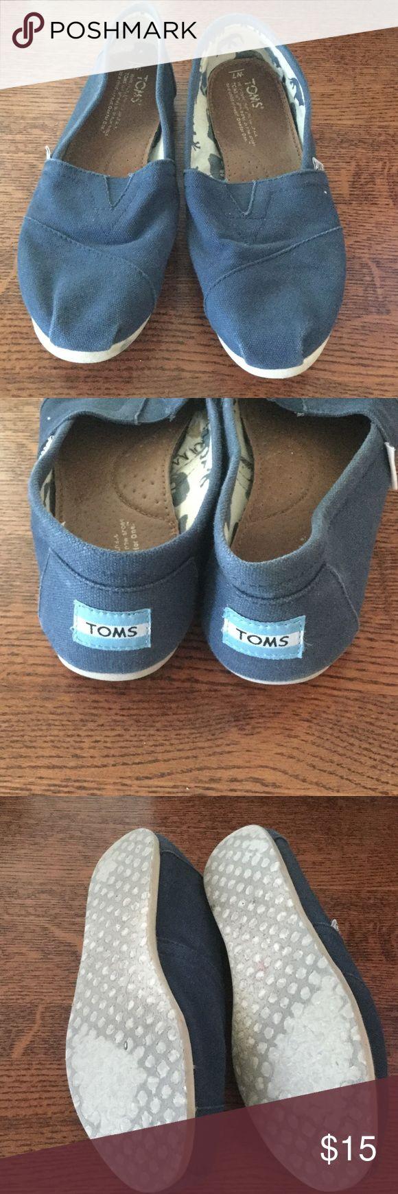 Blue TOMS Worn blue TOMS. No holes. TOMS Shoes