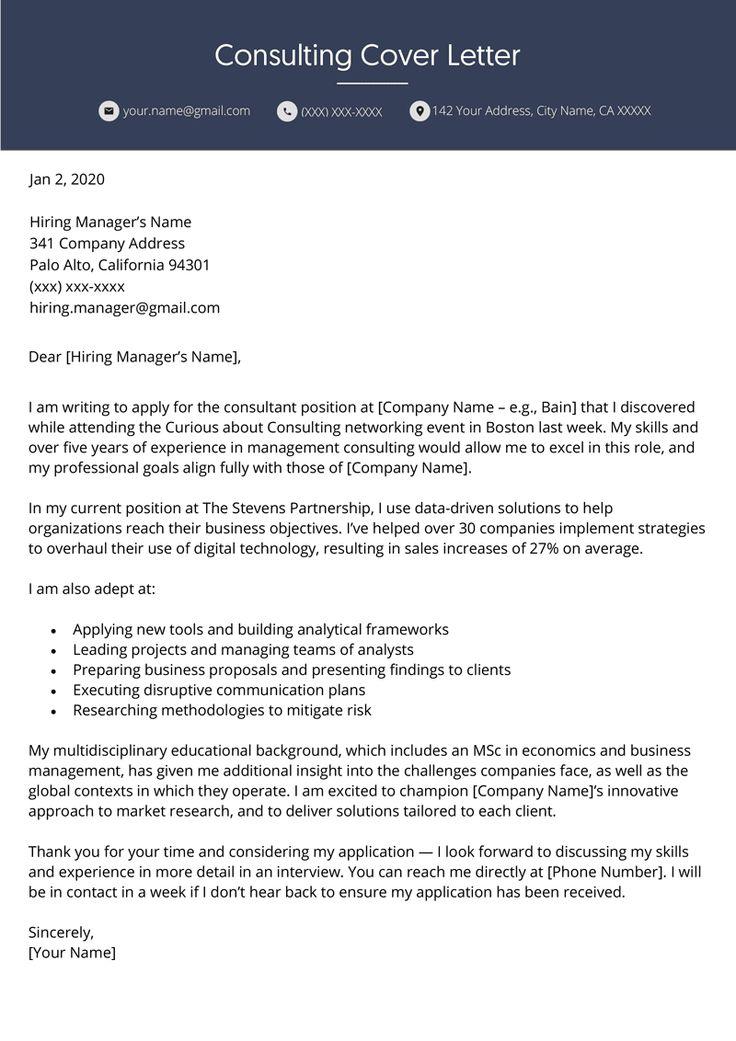 Consulting Cover Letter Professional Example Resume Genius