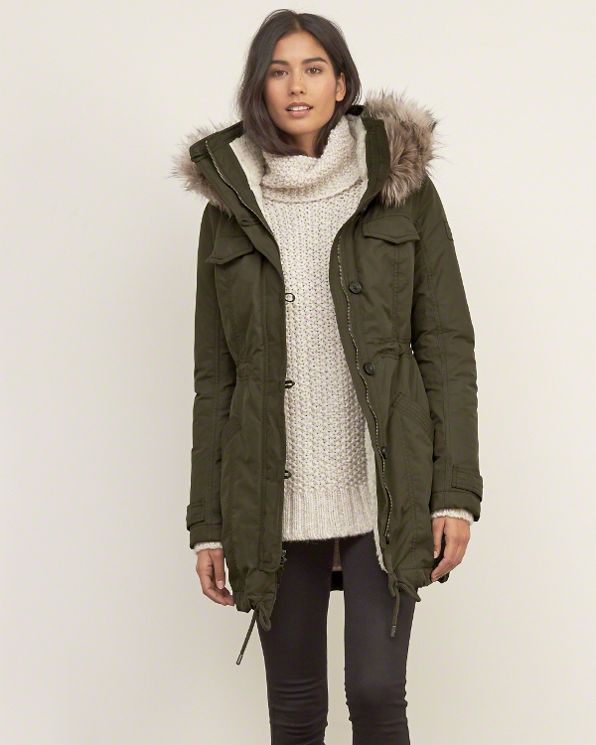 Womens A&F; Sherpa Lined Military Parka | Womens Secret Sale | Abercrombie.com