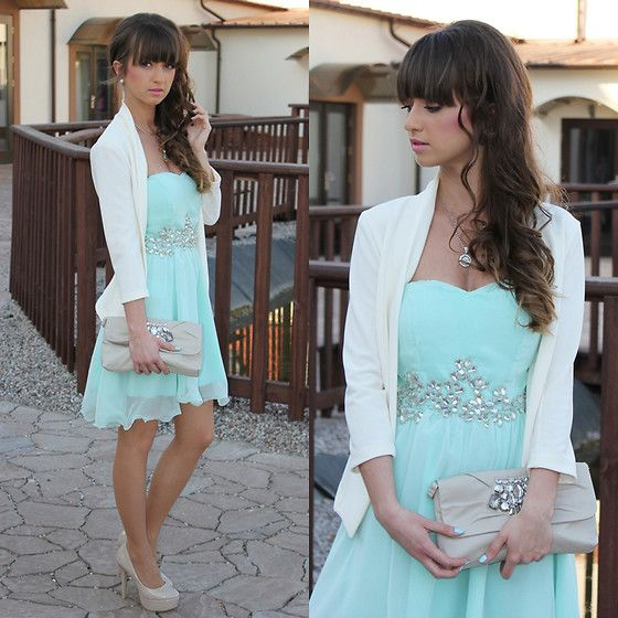 Mint dress with blazer clutch and heels for wedding guest for Mint wedding guest dress