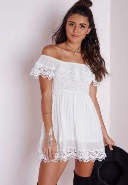 Cheesecloth Crochet Trim Bardot Skater Dress White on the short side, but really cute