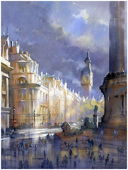 trafalgar square - london by Thomas W Schaller Watercolor ~ 24 inches x 18 inches