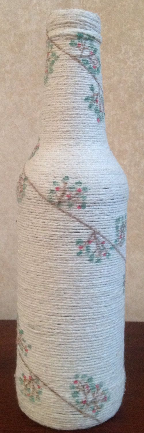 Hand painted vine with flowers design  twined beer by ArtandTwine, $35.00 #Art&Twine