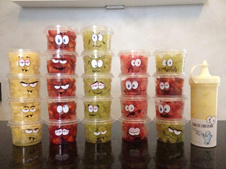 Halloween! Potinhos personalizados de fruta e baba de fantasma (leite condensado)
