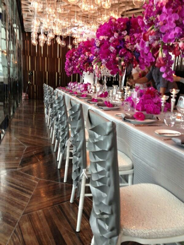 Slate-gray linens covered the tables to accentuate the ... |Wedding Grey Table Linens