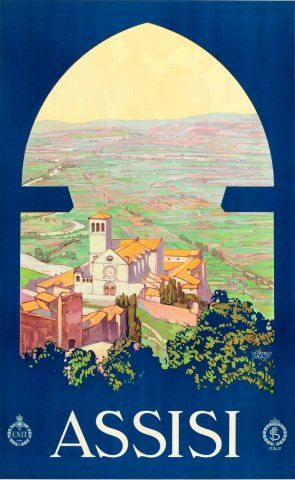ASSISI Italy Travel Poster Vintage Lithograph Digital Art Print