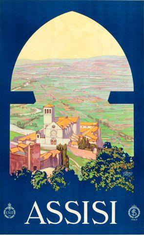 Vintage Italian Posters ~ #illustrator #Italian #vintage #posters ~ ASSISI Italy Travel Poster Vintage
