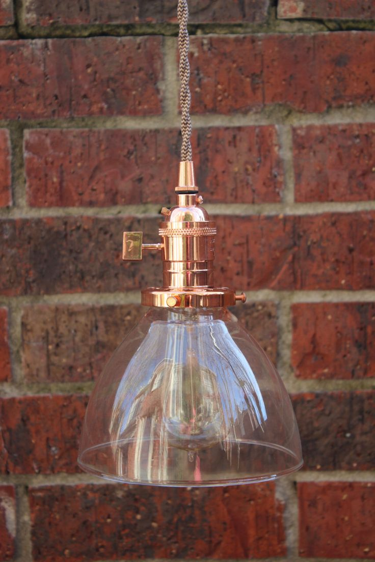 Industrial Pendant Light Copper Glass Bell Cone Shade Round Plug In or Canopy Kit Black Brown White Red Zig Zag Houndstooth Wire by IlluminateVintage on Etsy https://www.etsy.com/listing/220593894/industrial-pendant-light-copper-glass