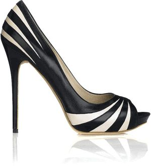 Alexander McQueen black and white striped shoes