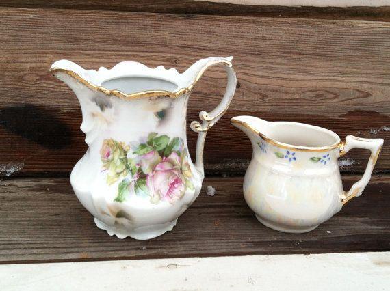 Vintage Porcelain Pitcher or Vase Set  Antique by happydayantiques