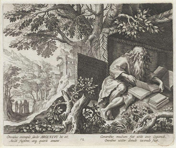Raphaël Sadeler (I) | Heilige Arsenius de Grote als kluizenaar, Raphaël Sadeler (I), Johann Sadeler (I), 1594 | H. Arsenius de Grote, een vroeg-christelijke kluizenaar in de woestijn van Lybië. Hij ligt in een hut en leest een bijbel. Op de achtergrond naderen drie vrouwen op een landweg.