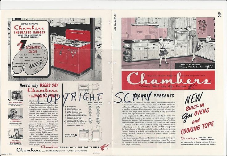 1954 CHAMBERS Built In GAS Ovens Cook Tops Modern Kitchen Range Vintage Catalog