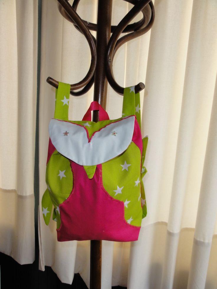 Sac a dos enfant modèle hibou fushia et vert anis : Sacs à dos, cartables par piment-t