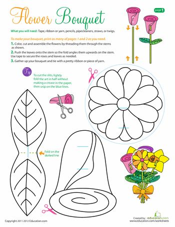 A good Mother's Day craft for a kid who's not too crafty! > Printable Flowers: Make a Bouquet