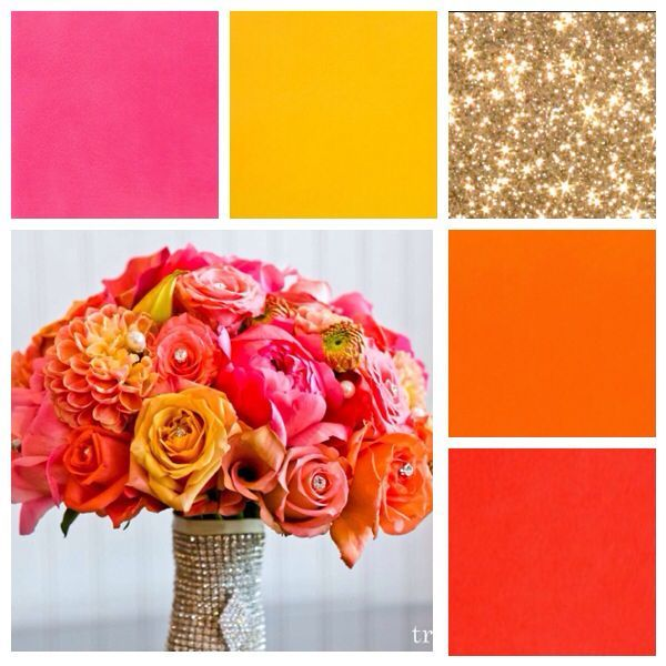 Gold coral pink orange yellow bright happy wedding colors. Definitely what I envision for myself