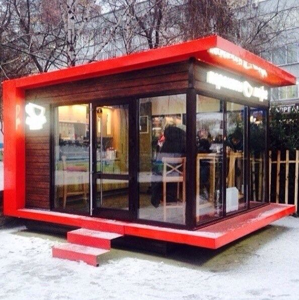 Red outdoor coffee shop by Perekati coffee