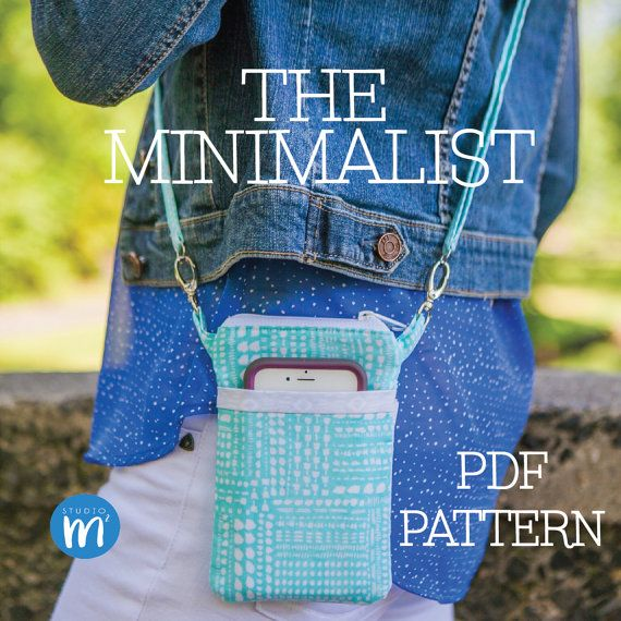 The Minimalist - PDF Pattern - Small Cross body Bag - Wristlet - Mini Messenger - Cell Phone Purse - Phone Case Wallet