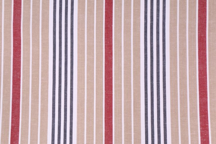 Woven Stripe Upholstery Fabric in Sand, Red, Charcoal. This high end woven upholstery weight fabric is suited for uses requiring a more durable designer fabric. Uses include any upholstery project, sofas,...