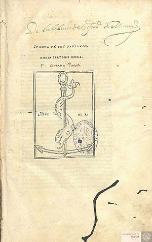 Omnia Platonis Opera - Wikipedia, la enciclopedia libre