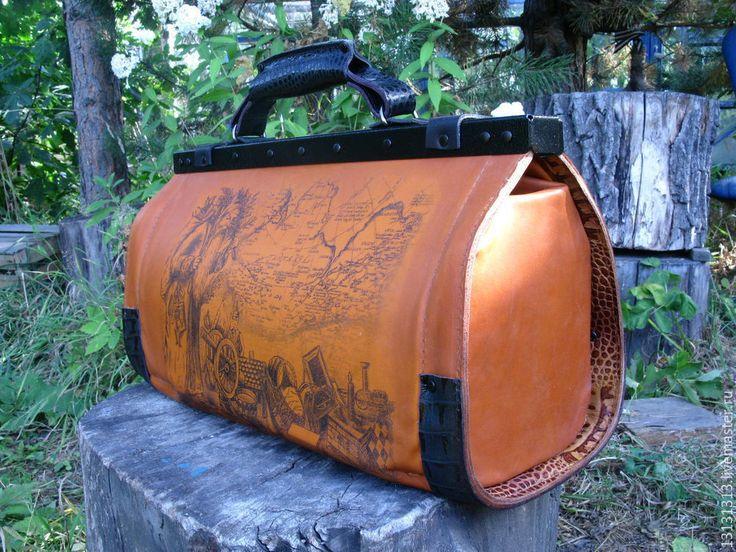 Купить Кожаный саквояж от Vad Us - кожаная сумка мужская, кожаная сумка саквояж
