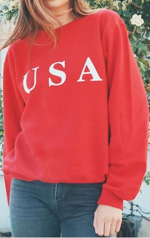 830065bec3 Description Size Guide Details  Oversized crewneck sweatshirt in red with  print featuring  USA