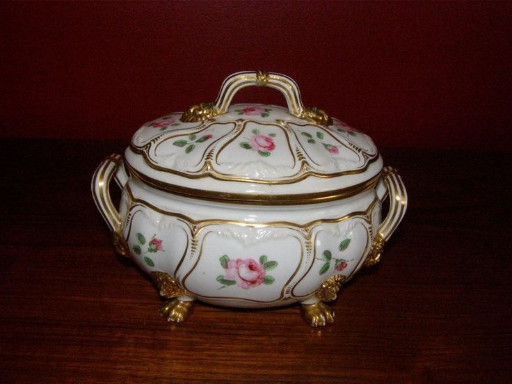 Antique Derby Tureen w/ Gold Lion's Head & Claw Feet - HP Floral Design 1806-25