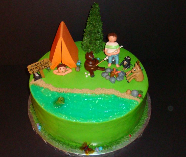 Camping/Nature themed birthday - My son's friend is having a camping/nature themed party today.  The cake has him (roasting marshmallows), his dog, and his little brother (in the tent).  Chocolate cake with vanilla mousse & fresh strawberries.  Buttercream icing and fondant/gumpaste decorations, oh and my first gelatine butterfly!
