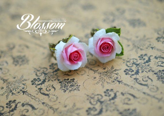 White Pink Roses Earrings Roses Jewelry Set Pink Rose Ring Etsy Rose Jewelry Pink Jewelry Set Polymer Clay Flowers