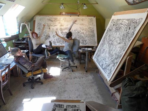 Look at those HUGE drawing desks! Beehive Design Collective.