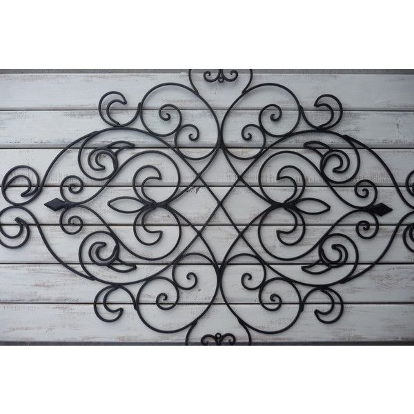 Wrought Iron Wall Decor Bedroom Headboard Black Fleur De Lis Art... ($45) ❤ liked on Polyvore featuring home, home decor, wall art, grey, home & living, fleur de lis wall hanging, wrought iron wall art, fleur de lis wall art, gray home decor and shabby chic home accessories