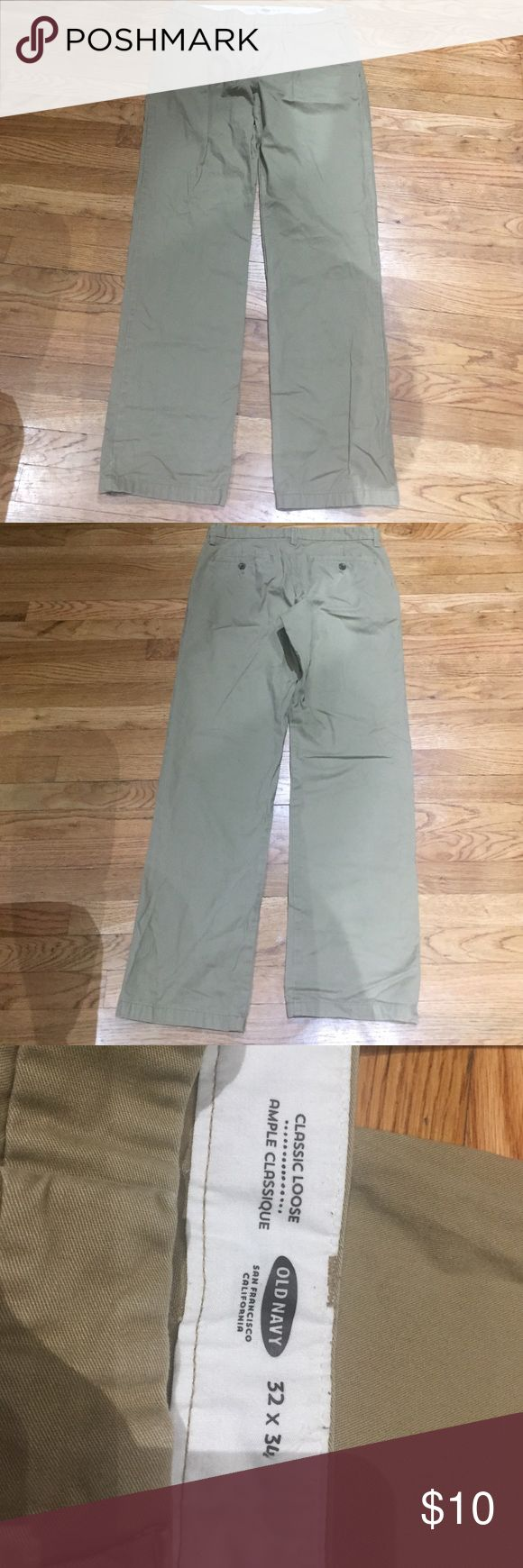 Old Navy khaki pants 👖 for men 32x34 Old navy khaki pants 👖 for men 32x34 style: classic loose. This pants are in outstanding conditions. PLEASE ASK ALL QUESTIONS PRIOR TO PURCHASE. I AM NOT RESPONSIBLE FOR LOST OR DAMAGE PARCEL OR BUYERS DISSATISFACTION. Old Navy Pants Chinos & Khakis