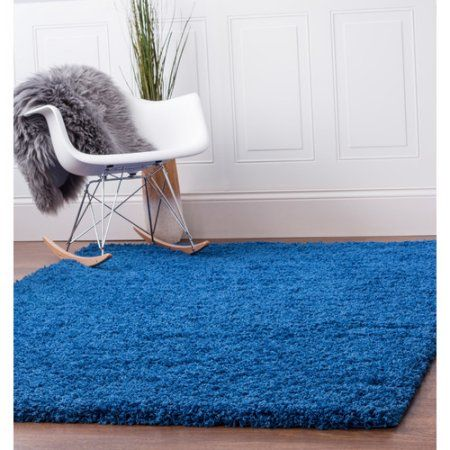 Super Area Rugs, Cozy Plush Solid Blue Shag Rug , 3' 3 inch x 5' 3 inch
